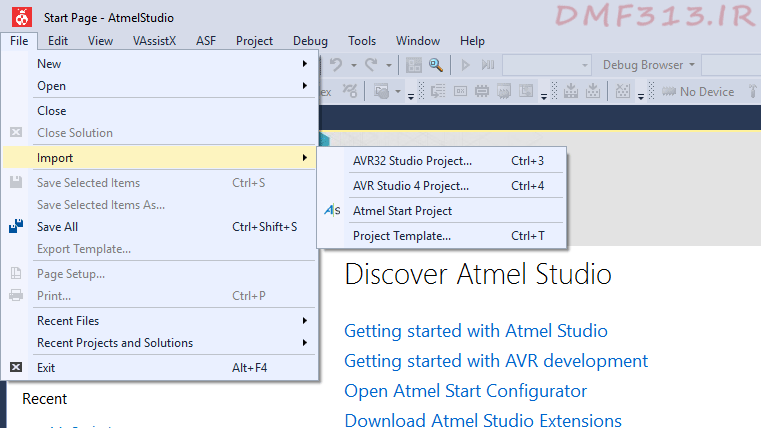 Atmel Studio Import