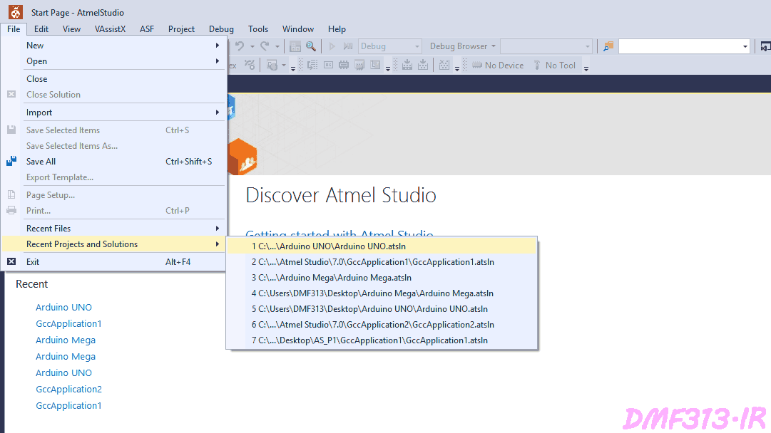 Atmel Studio Open Project from File Recent Project