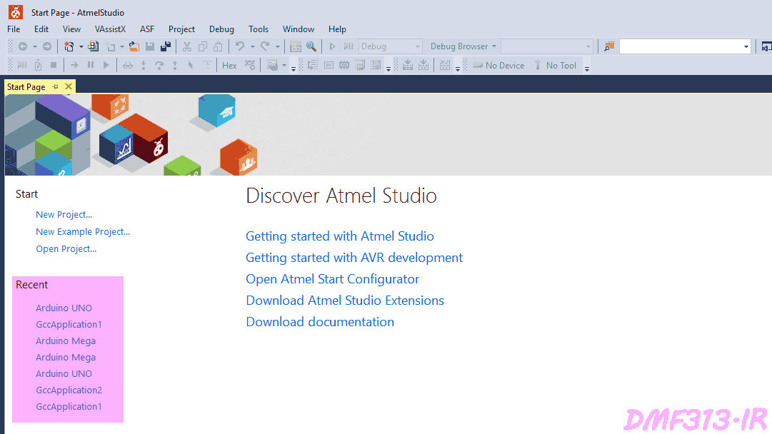 Atmel Studio Open Project from Start-Page